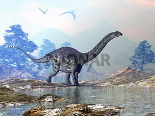 Apatosaurus dinosaur walking - 3D render