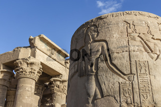 Lower half column at the entrance of the Temple of Kom Ombo