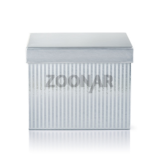 Front view of silver striped gift box