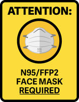 yellow N95 or FFP2 MASK REQUIRED information sign