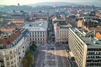 Aerial view to the square before St. Stephen's Basilica in Budapest,
