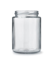 Front view of open empty glass jar