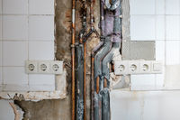 old water pipes and tubes during renovation -