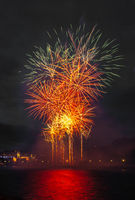 Abstract colored firework object. Variety of colors Mix Fireworks or firecracker burst. celebrate holiday travel night outdoor