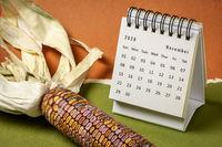November 2020 - spiral desktop calendar