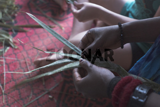 Hands of people braiding palm in a learning workshop.
