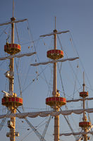 Masts and yards of a sailing ship. Japan