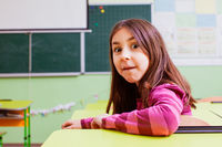 Cute girl with funny face in empty classroom