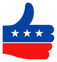Flat Raster Thumb Up Icon in American Democratic Colors with Stars