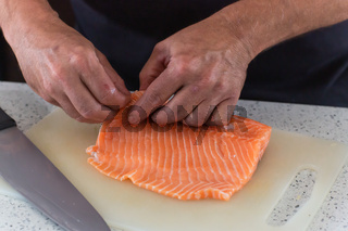 Raw salmon ready to be cut