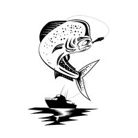 Mahi-mahi Dorado Dolphinfish Jumping Up With Fishing Boat Retro Black and White