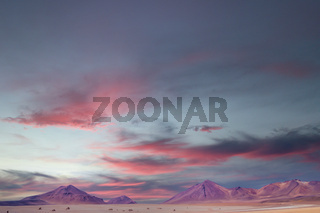 Amazing sunset sky over Altiplano, Bolivia