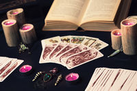 occult and magic objects on witch table