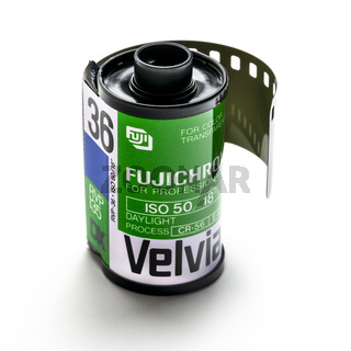 roll of 35mm Fujichrome Velvia color slide fim on white