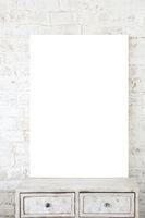 Blank poster against white brick background