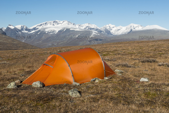 tent with Mt. Kebnekaise, Lapland, Sweden