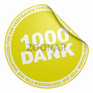 3D Aufkleber Gelb - 1000 Dank