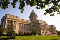 Cultivated flowers beautify the grounds around the state capital of Kentucky at Frankfort