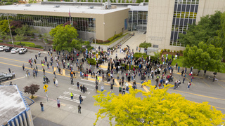 Tacoma, WA/USA – June 12: Street View Silent Protesters Gather for George Floyd in Tacoma ta the County City Building on Tacoma Avenue June 12, 2020
