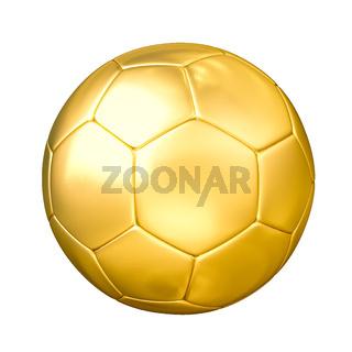 Golden soccer ball isolated