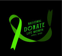 National donate life month. Vector illustration with green ribbon on black