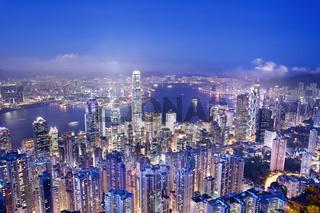 Hong Kong from Victoria peak at dusk