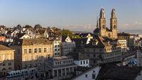 View of historical center Zurich with Grossmünster
