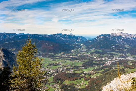 View from the Jenner to the valley of Schönau and Berchtsgaden at Königssee, Germany