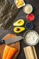 Ingredients for the preparation of sushi rolls.