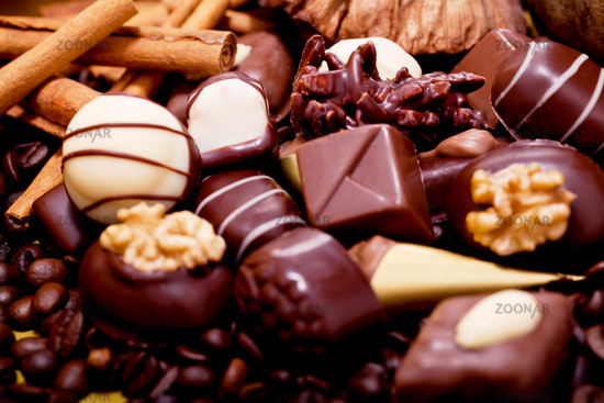 collection of different sweet chocolate pralines