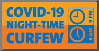 covid-19 night-time curfew sign