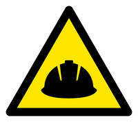 Raster Hard Helmet Warning Triangle Sign Icon