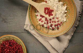 Delicious cottage cheese with red currant berries