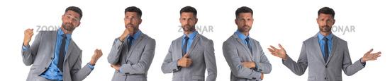 Set of business man portraits