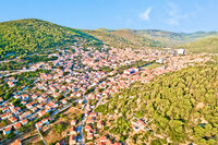 Blato on Korcula island. Historic town of Blato in green landscape of Korcula aerial view