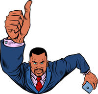 African businessman with a smartphone like, thumbs up. Flying like a superhero