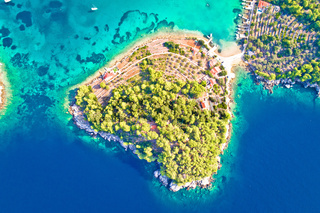 Aerial view of Gradina bay sailing destination on island Korcula