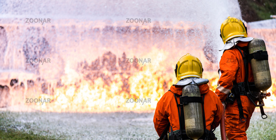 Panoramic Firefighter using Chemical foam.