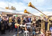 Uzbek ethnic musicians playing on traditional musical folk instruments