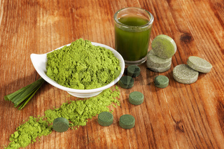 Chlorella, spirulina and wheat grass.