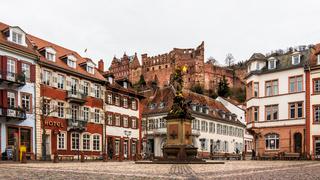 Cornmarket, ger. Kornmarkt and Statuesque of Kornmarktmadonna in Downtown of City Heidelberg, Baden-Wuerttemberg, Germany. Europe