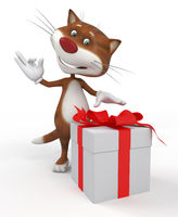 3d cat with a gift.
