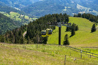 Beautiful view from the Mountain (Belchen) near Freiburg on the beautiful landscape of the Black Forest and the (Belchenbahn) ropeway.