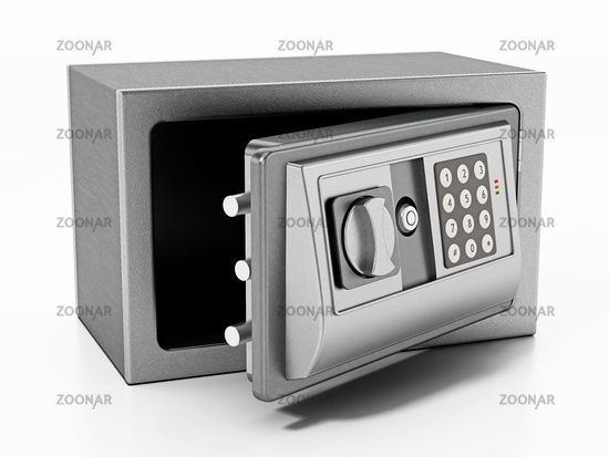 Steel safe with open door isolated on white background. 3D illustration