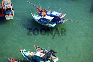 Aerial view  boats at the turquoise sea in Vietnam, Phu Quoc