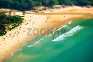 Tropical ocean beach landscape tilt shift effect. Phuket, Thailand