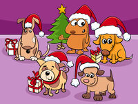 cartoon dogs characters group on Christmas time