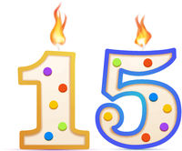 Fifteen years anniversary, 15 number shaped birthday candle with fire on white