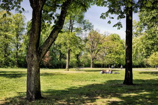 Bernau near Berlin, Germany - April 30th, 2019 - idyll in the city park
