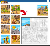 jigsaw puzzle game with wild comic animal characters
